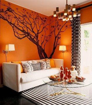 всекидневна в оранжево и кафяво