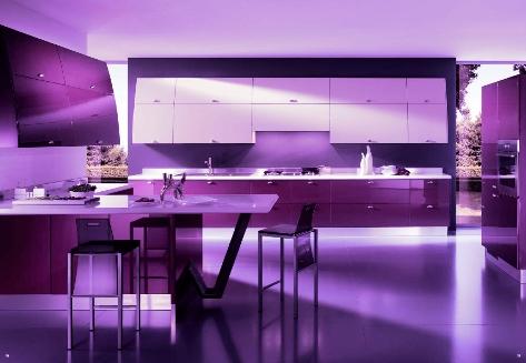 модерна кухня в лилаво