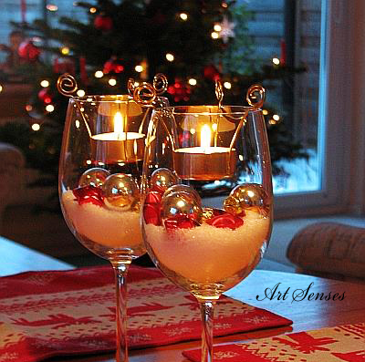 Коледна украса в чаша