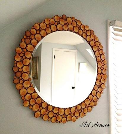 Рамка за огледало от кръгчета дървесина