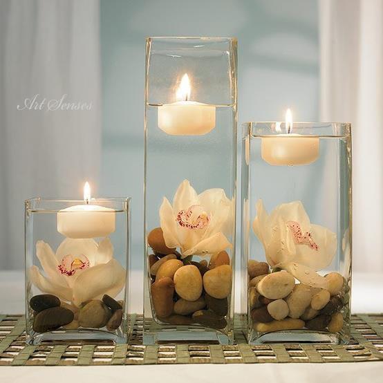 декорации с чаени свещи във ваза