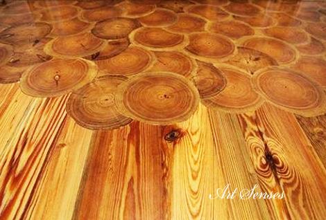 Настилка от кръгчета дървесина