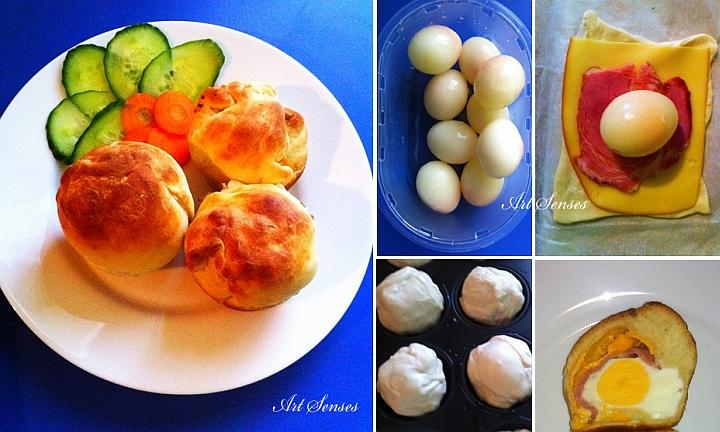 Замразени яйца с бекон и сирена в тесто