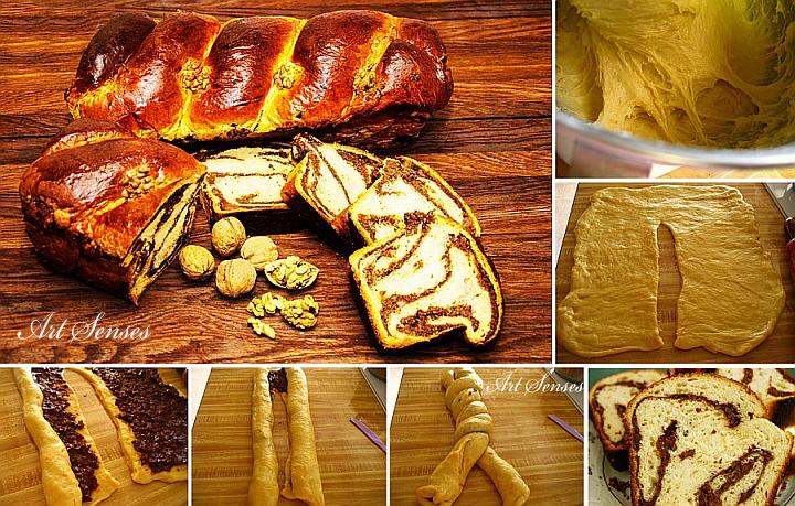 Cozonac - румънски козунак с орехи, стафиди и какао