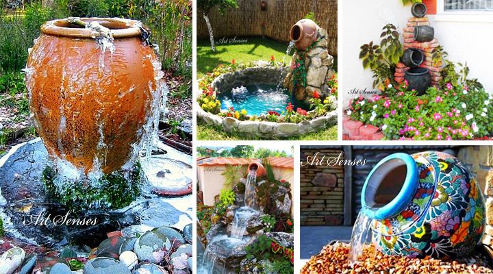 Градински фонтан от глинен съд