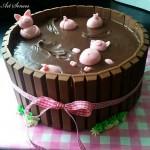 Артистична торта Прасета в калта