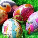 Украса на великденски яйца с коприна