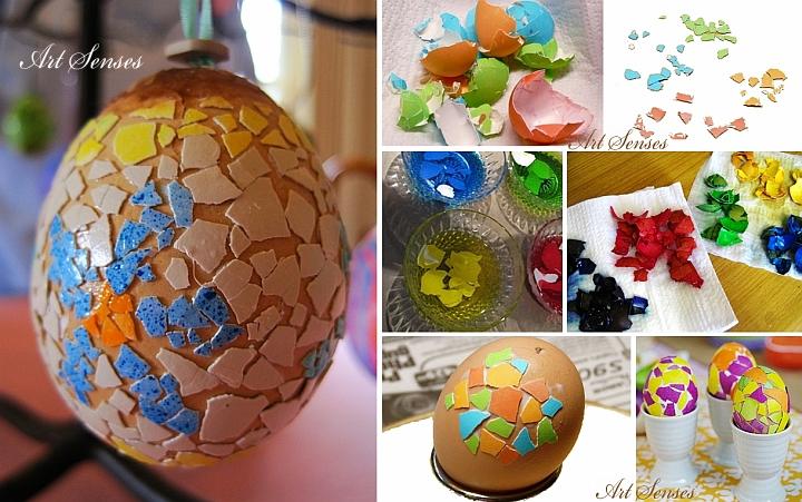 Украса на великденски яйца с мозайка от черупки