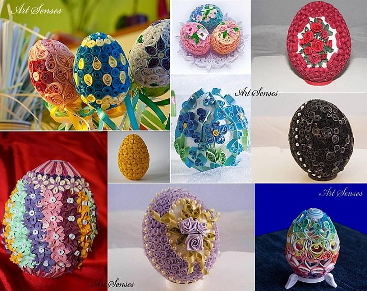 """Великденски яйца украсени в техника """"Квилинг"""""""