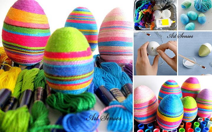 Великденски яйца украсени с конци или прежда