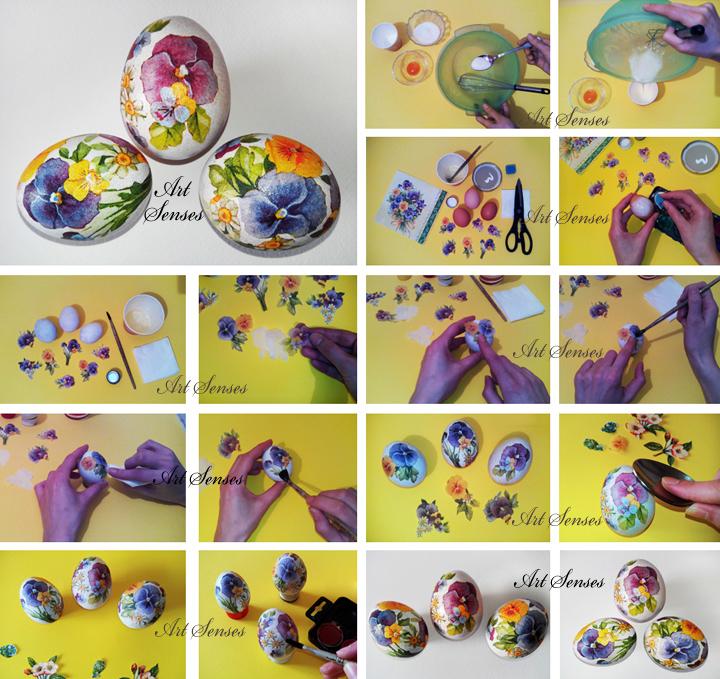 Декупаж на яйца за Великден
