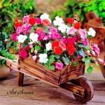 Цветарник дървена ръчна количка