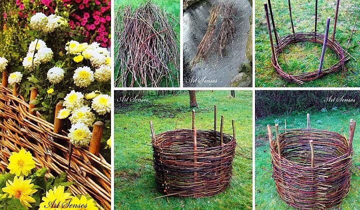 Плетена градинска кошница за цветя
