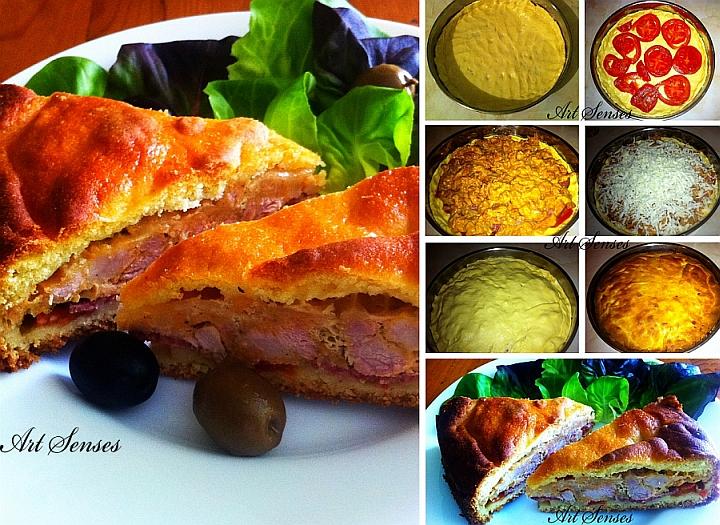 Царевична питка с месо и кашкавал