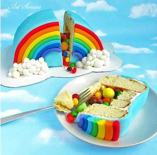 Артистична торта изненада Дъга