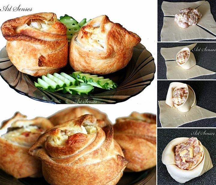 Рози от бутер тесто пълнени с пилешко и кашкавал