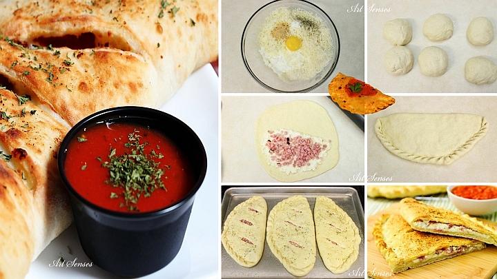 Мини калцоне с шунка, сирена и сос маринара