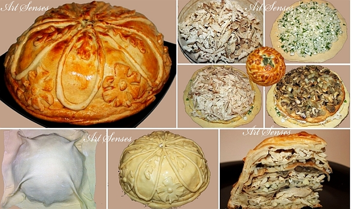 "Руска пилешка палачинкова торта в тесто - ""Курник"""