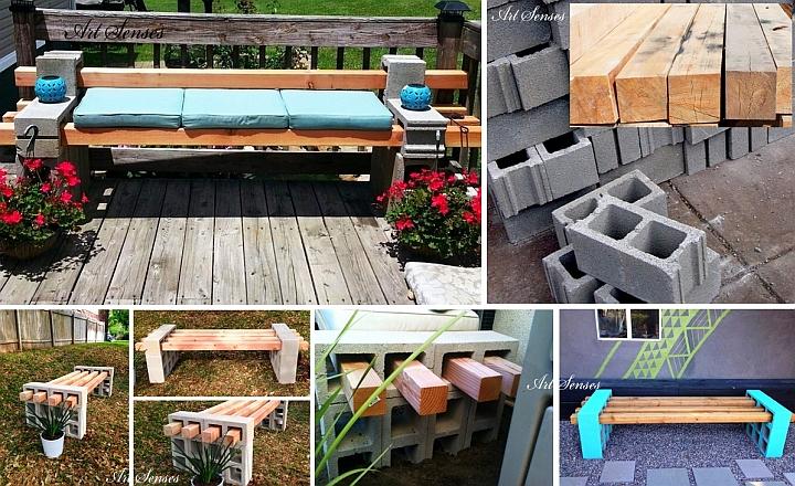 Направи си сам градинска пейка от греди и блокчета