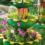 Направи си градински цветарник от стара гума