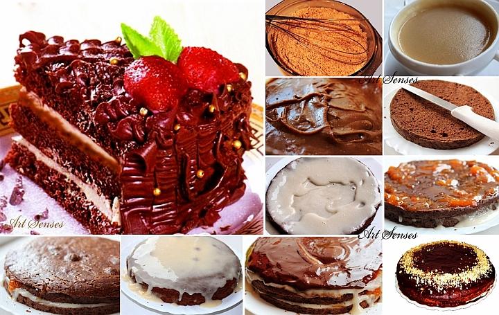 Постна шоколадово-кафена торта с кайсии