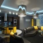 апартамент в жълто и черно от Geometrix