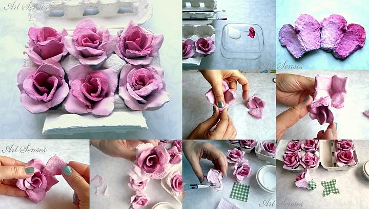 Направи си рози от картонени кутии за яйца