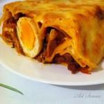 Руло Папарделе със сос Болонезе, сметана и яйца