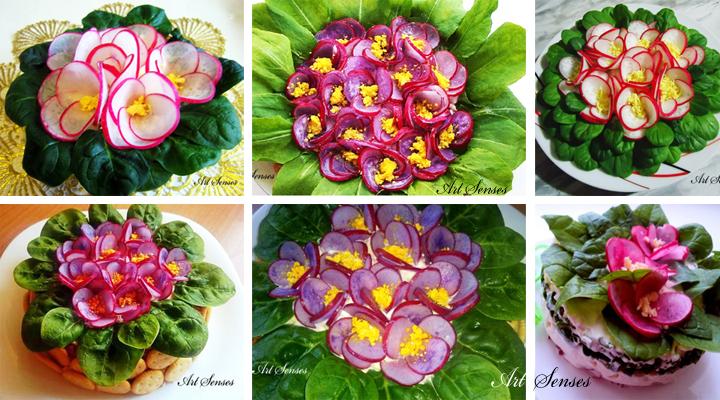 Букет теменужки - идеи за украса на ястие