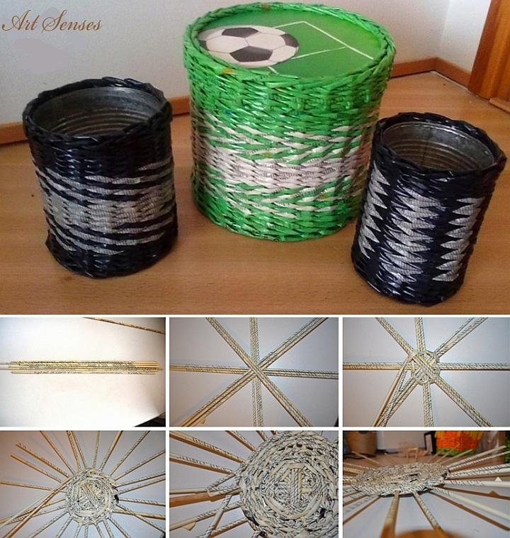 Плетене с вестници - изработка на панери и кошове