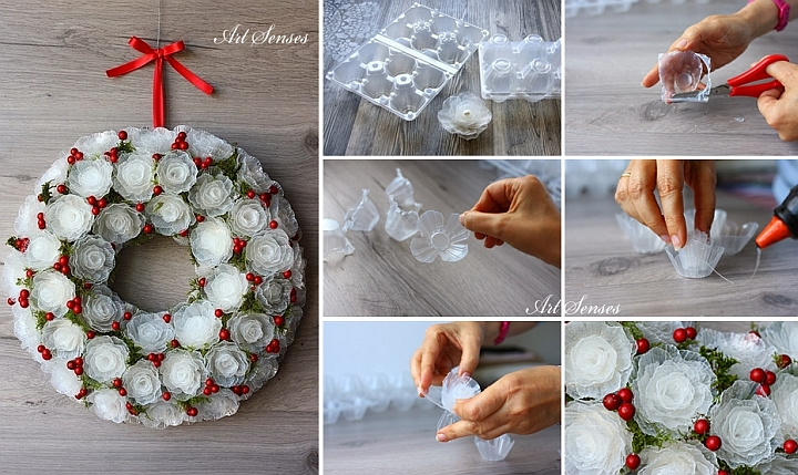 Коледен венец от пластмасови кутии за яйца