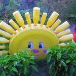 Идеи за градински декорации със стари гуми (11)