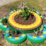 Идеи за градински декорации със стари гуми (15)