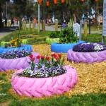 Идеи за градински декорации със стари гуми (2)