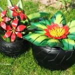 Идеи за градински декорации със стари гуми (3)