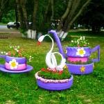 Идеи за градински декорации със стари гуми (5)