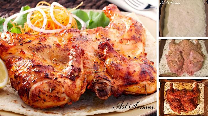 Печено пиле върху сол