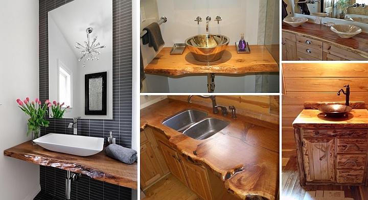 Дървен плот за мивка от цял естествен ствол