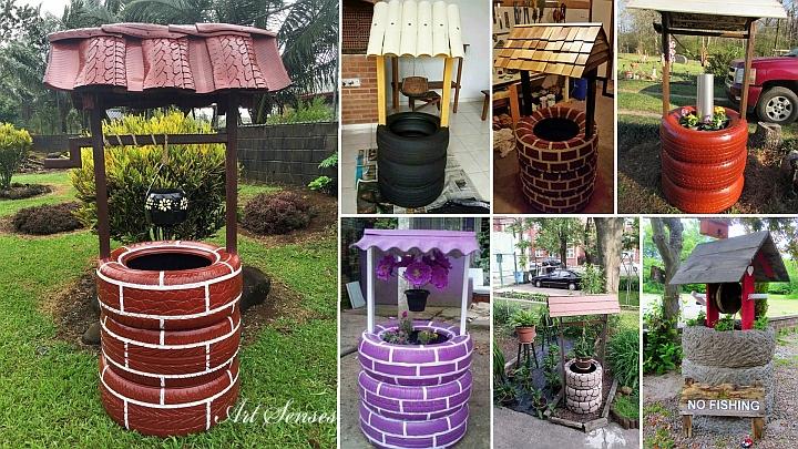 Декоративен градински кладенец от автомобилни гуми