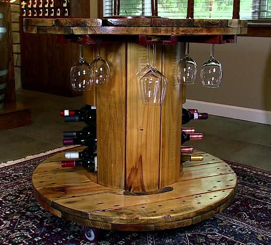 Бар-маса от дървена макара за кабел