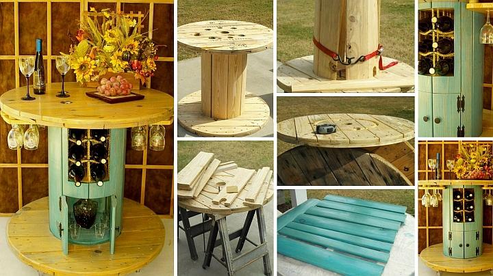 Стилна бар-маса от дървена макара за кабел