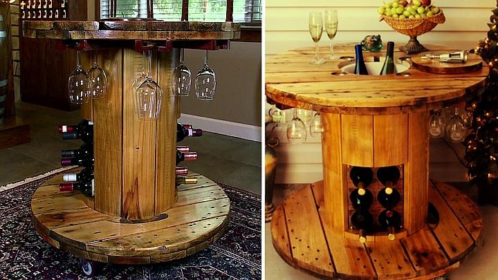 Стилна бар-маса от дървена макара