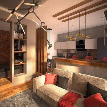 Красив и функционален интериорен дизайн на студио от 38м2