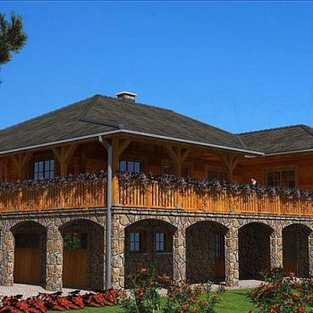 Красива къща от камък и дърво на наклонен терен