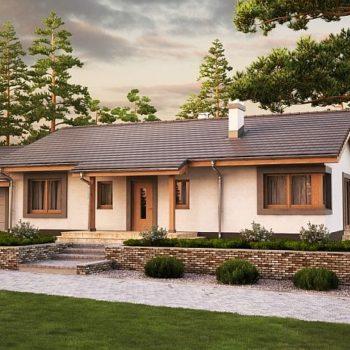 Дървена едноетажна къща с 3 спални и гараж